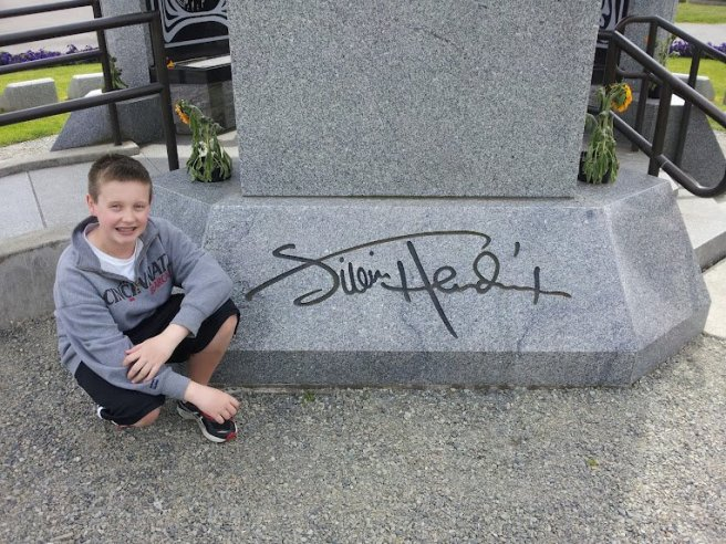 Son visits Hendrix Memorial
